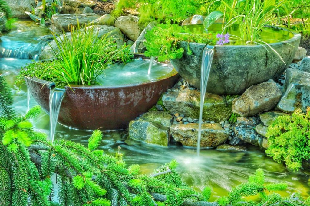patio bowls - an ornamental look for a water garden