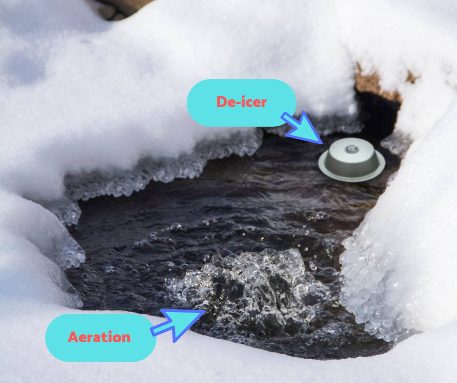 pond de-icer and pond aerator